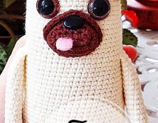 Hund Mops mit Knochen Häkelanleitung Amigurumi PDF | 243x311